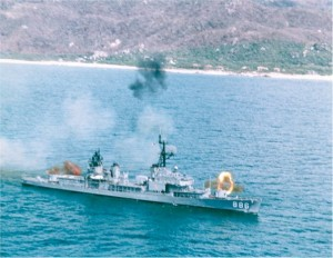 USS ORLECK engages enemy in Korea