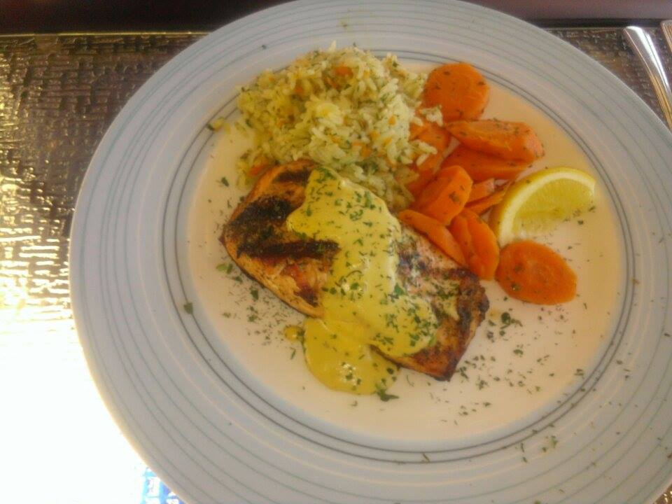 Barb's Salmon Dijon at The Upper Deck Restaurant