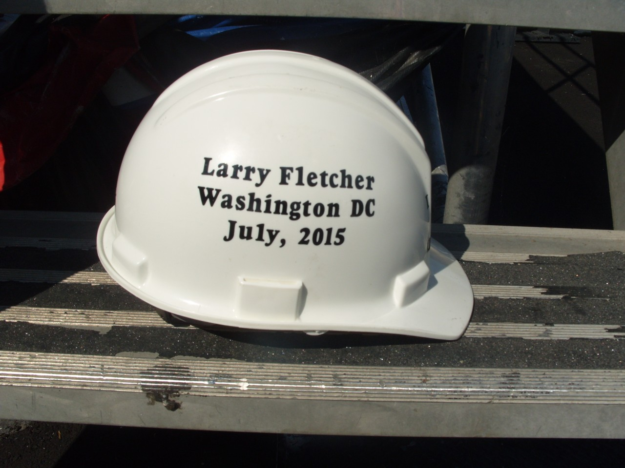 Larry's Hard Hat gift from our Assn.